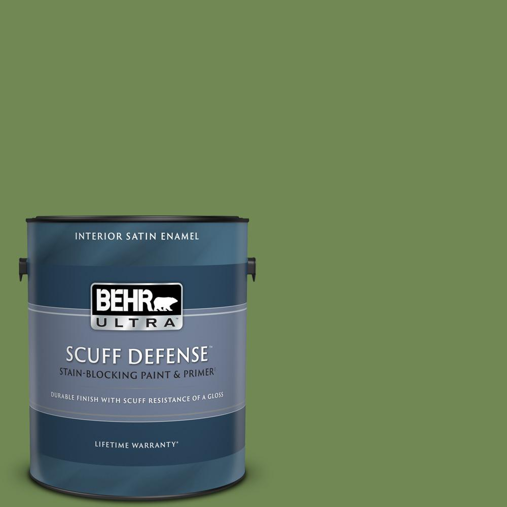 Behr Ultra 1 Gal M370 6 Snip Of Parsley Extra Durable Satin Enamel Interior Paint And Primer In One 775301 The Home Depot
