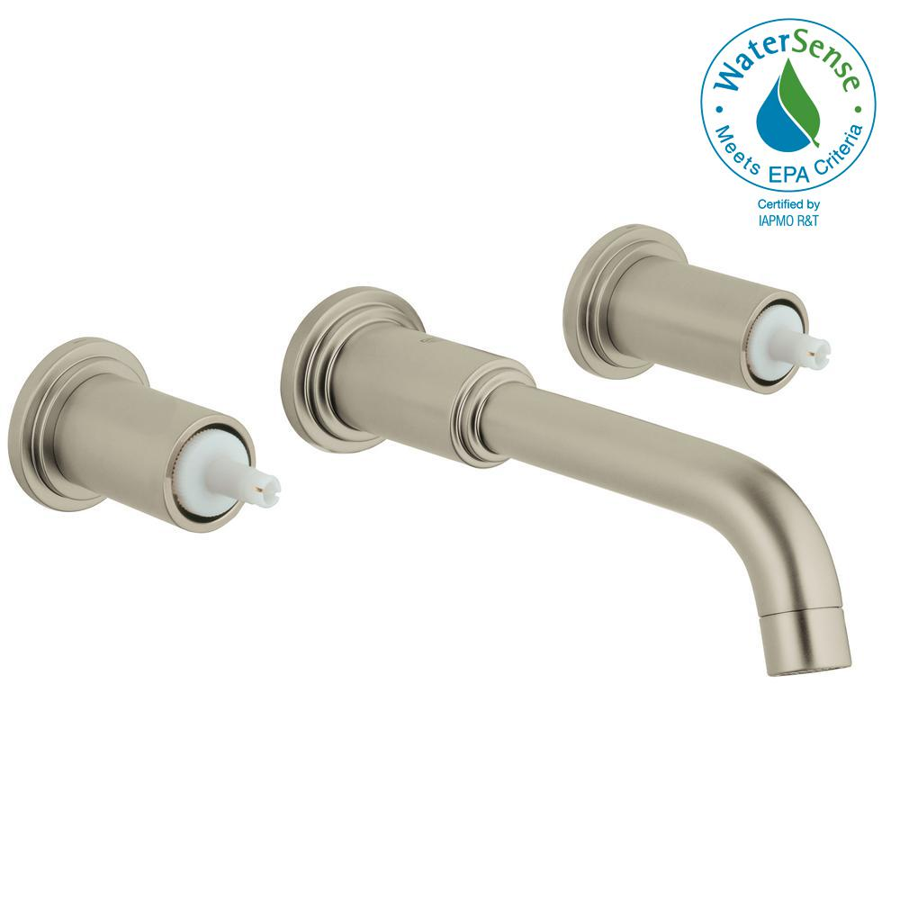 Atrio 2-Handle Wall Mount Bathroom Faucet in Brushed Nickel Infinity Finish