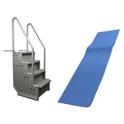 47 in. Tall Ladder and Swimline Ladder Mat for Above Ground Swimming Pool