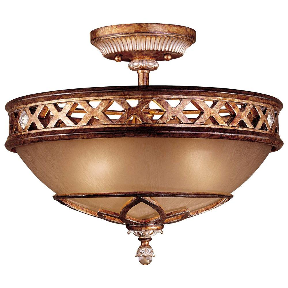 3-Light Aston Court Bronze Semi Flush Mount