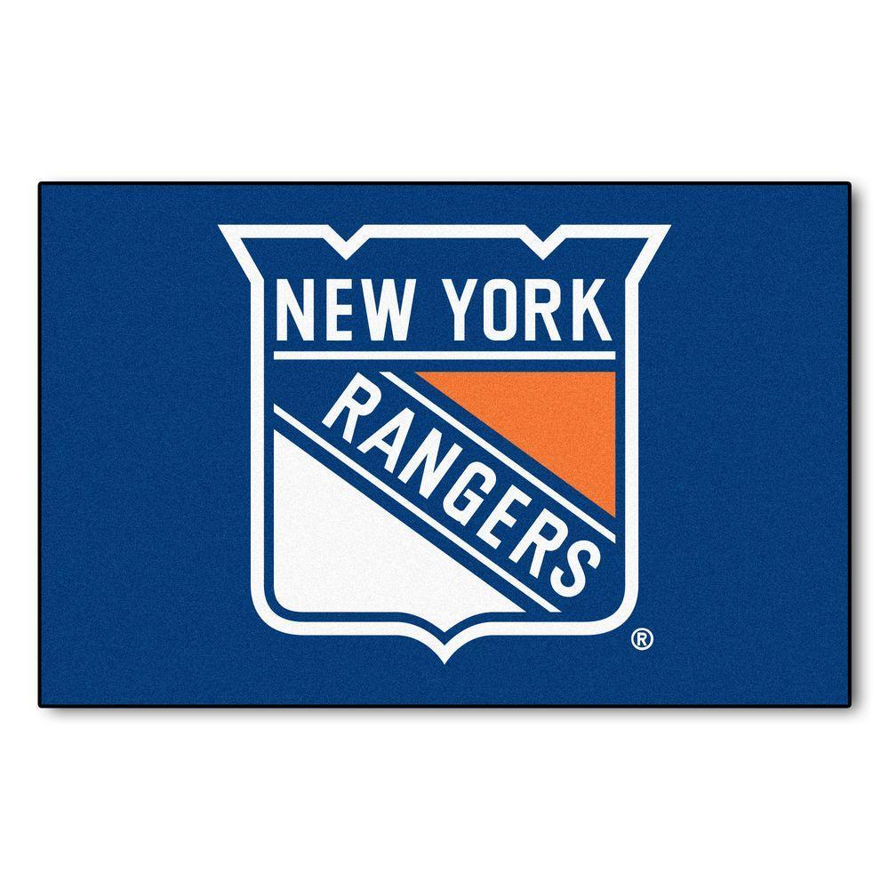 NHL New York Rangers Blue 1 ft. 7 in. x 2 ft. 6 in. Rectangular Area Rug