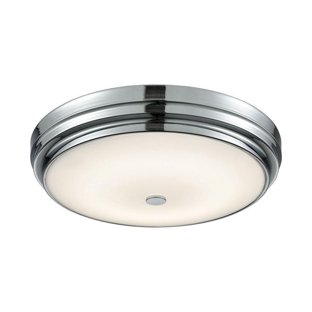 Garvey Chrome and Opal Glass Large Round LED Flush Mount