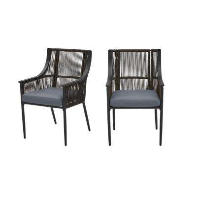 Bayhurst Black Wicker Outdoor Patio Stationary Dining Chair with CushionGuard Steel Blue Cushions (2-Pack)