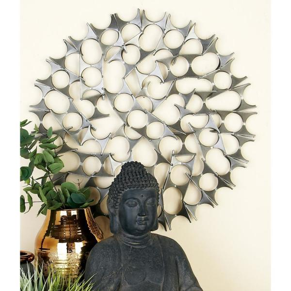 c55c44f377 Litton Lane Tin Silver Bowties Orb Metal Wall Decor (Set of 3) 44585 ...
