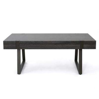 Oak Black Rectangular Wood and Metal Coffee Table