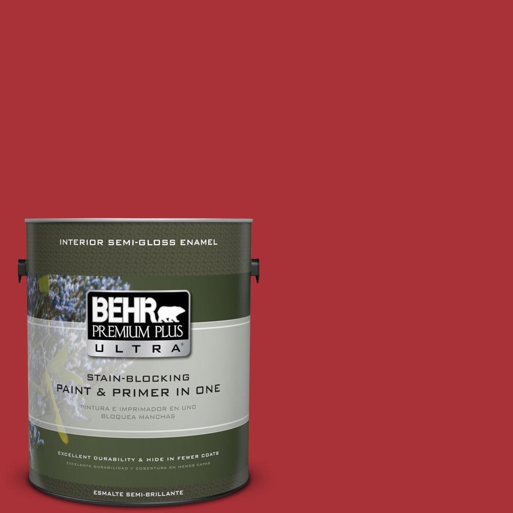 BEHR Premium Plus Ultra 1-gal. #S-G-160 California Poppy Semi-Gloss Enamel Interior Paint