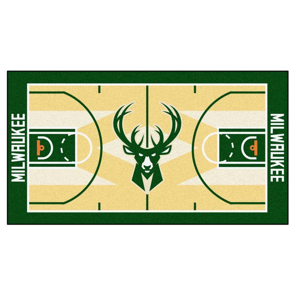 NBA - Milwaukee Bucks Tan 2 ft. x 4 ft. Indoor Basketball Court Runner Rug