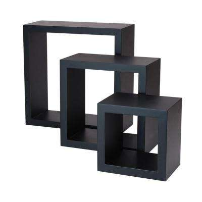 nexxt Cubbi 9 in. MDF Wall Shelf in Black (3-Piece)