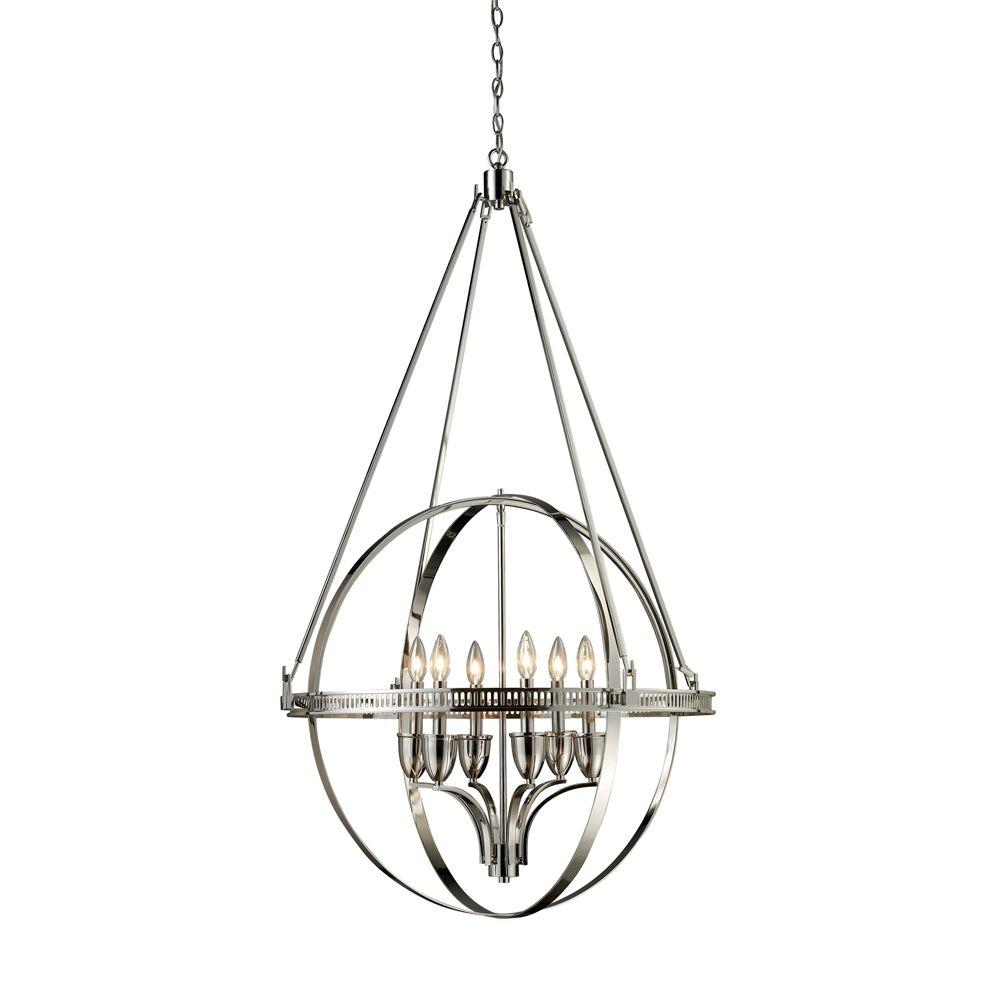 Titan Lighting Hemispheres 6 Light Polished Nickel Ceiling Mount Chandelier Fixture Wiring Diagram