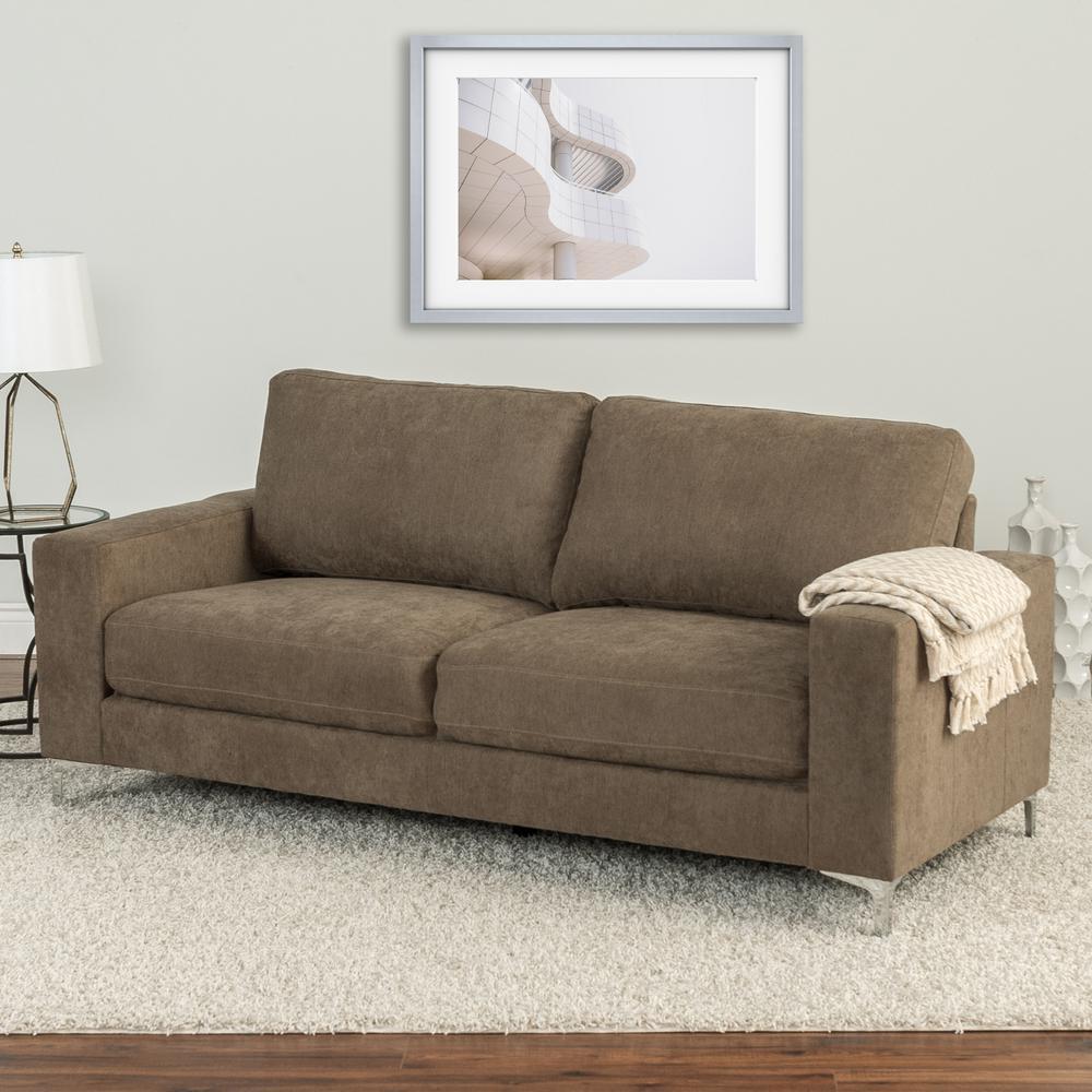Cory Brown Chenille Fabric Sofa