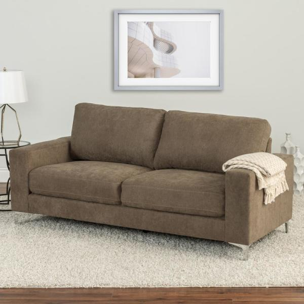 CorLiving Cory Brown Chenille Fabric Sofa LZY-491-S - The Home Depot
