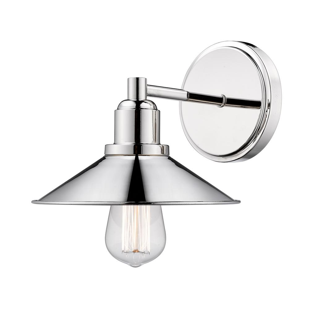Filament Design Cortez 1-Light Polished Nickel Bath Light with Polished Nickel Steel Shade