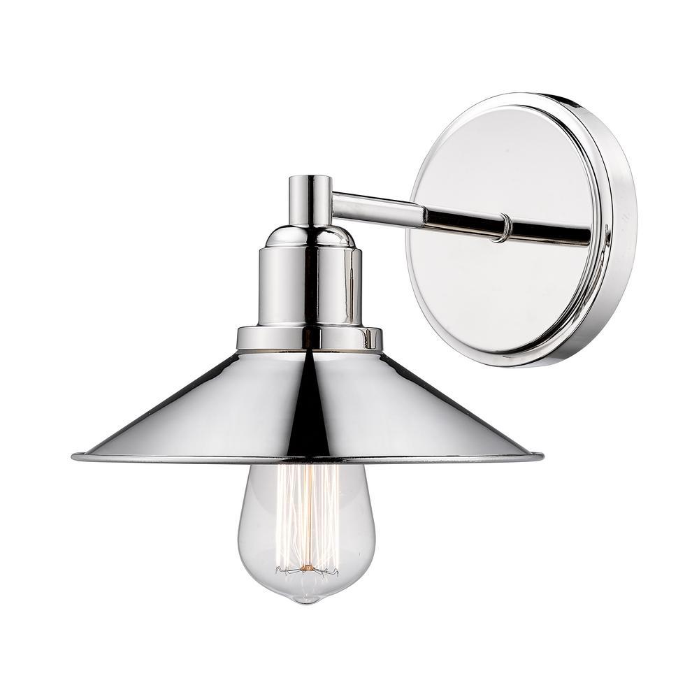 Cortez 1-Light Polished Nickel Bath Light with Polished Nickel Steel Shade