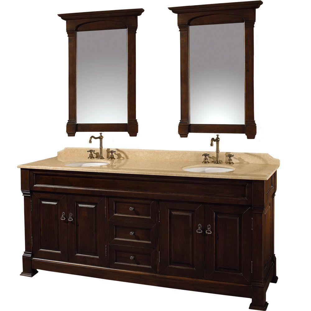 Wyndham Collection Andover 72 in. Vanity in Dark Cherry with Double Basin Marble Vanity Top in Ivory and Mirrors