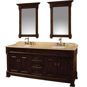 Wyndham Collection Andover 72 inch Vanity in Dark Cherry with Double Basin Marble Vanity Top in Ivory and Mirrors by Wyndham Collection