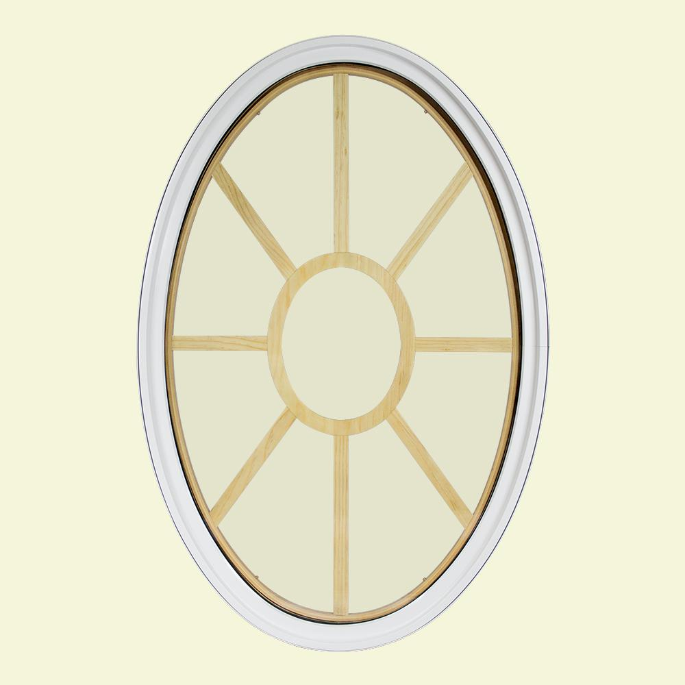 30 in. x 48 in. Oval White 4-9/16 in. Jamb 9-Lite