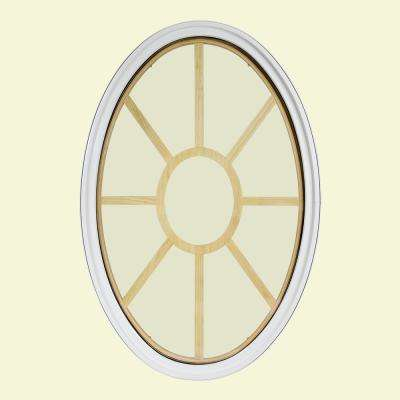 34 in. x 54 in. Oval White 4-9/16 in. Jamb 3-1/2 in. Interior Trim 9-Lite Grille Geometric Aluminum Clad Wood Window