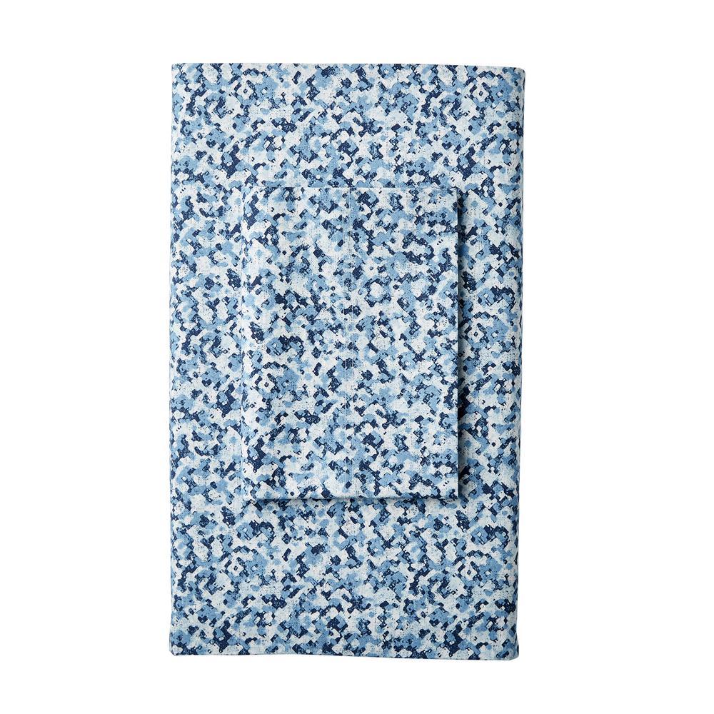 Splatter 300-Thread Count Organic Cotton Percale Queen Flat Sheet
