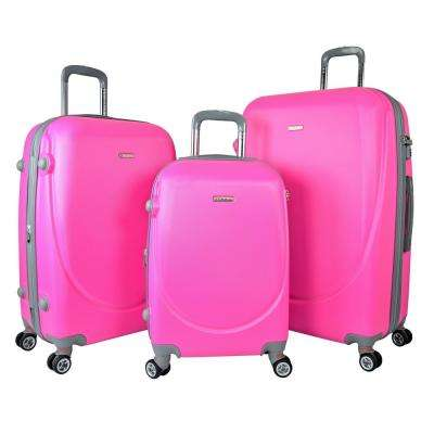 BARNET 2.0 3-Piece Neon Pink Hardside Expandable Vertical Suitcase Set with Spinner Wheels