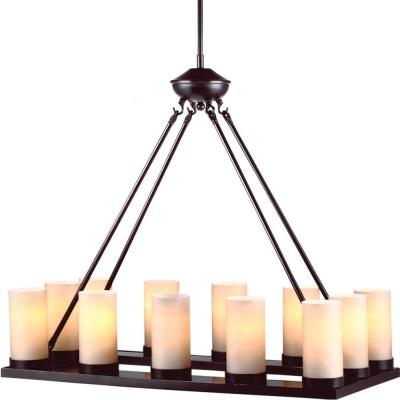 Ellington 30 in. W 12-Light Burnt Sienna Chandelier with Cafe Tint Glass