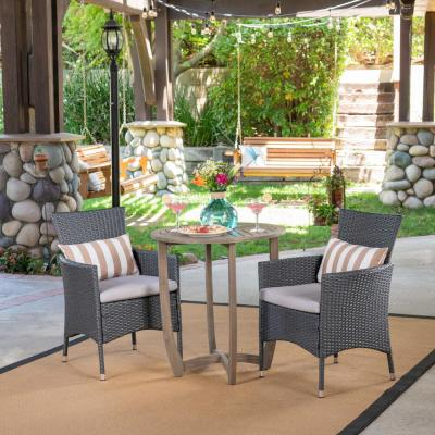 Ellie Gray 3-Piece Wood and Wicker Outdoor Bistro Set with Silver Cushions