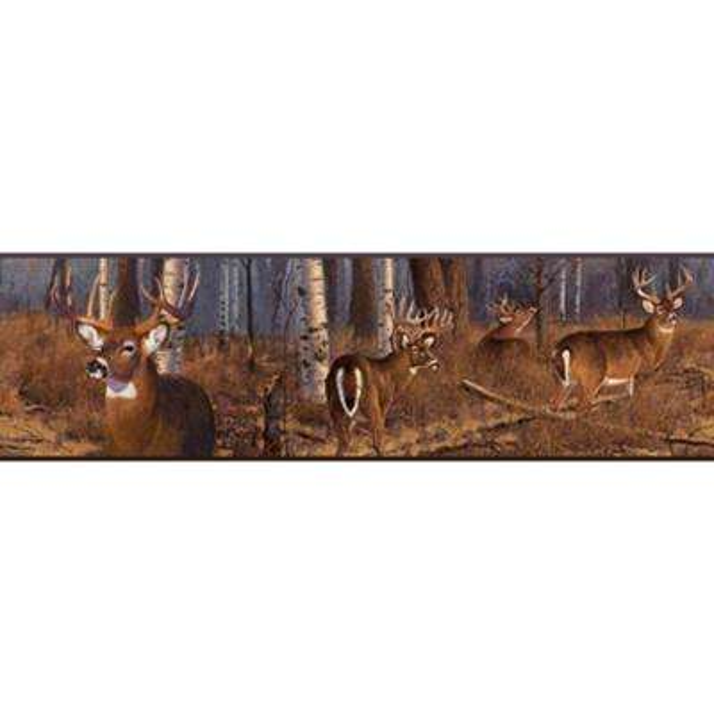 Lake Forest Lodge Deer Wallpaper Border