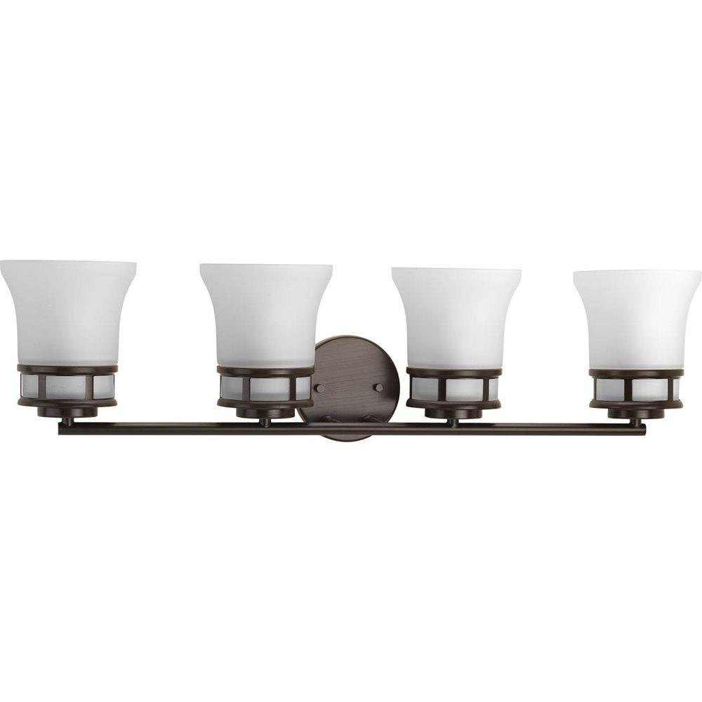 Cascadia Collection 4-Light Antique Bronze Vanity Light with Etched Glass Shades