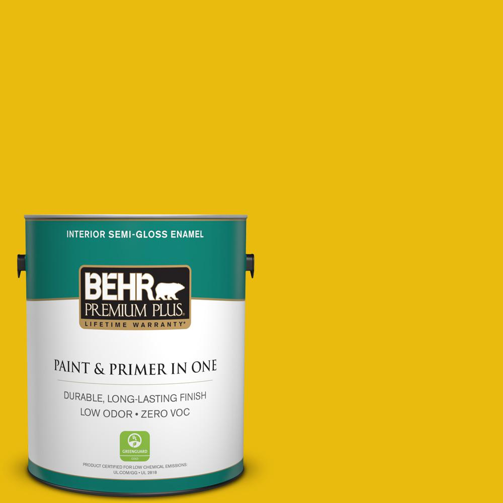 1-gal. #390B-7 Lemon Lime Zero VOC Semi-Gloss Enamel Interior Paint