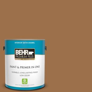 Behr Premium Plus 1 Gal Ppu4 17 Olympic Bronze Satin Enamel Low Odor Interior Paint And Primer In One 730001 The Home Depot