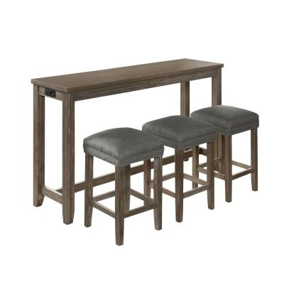 Dremmend 4-Piece Wire-Brushed Gray and Gray Counter Height Table Set with USB Plug