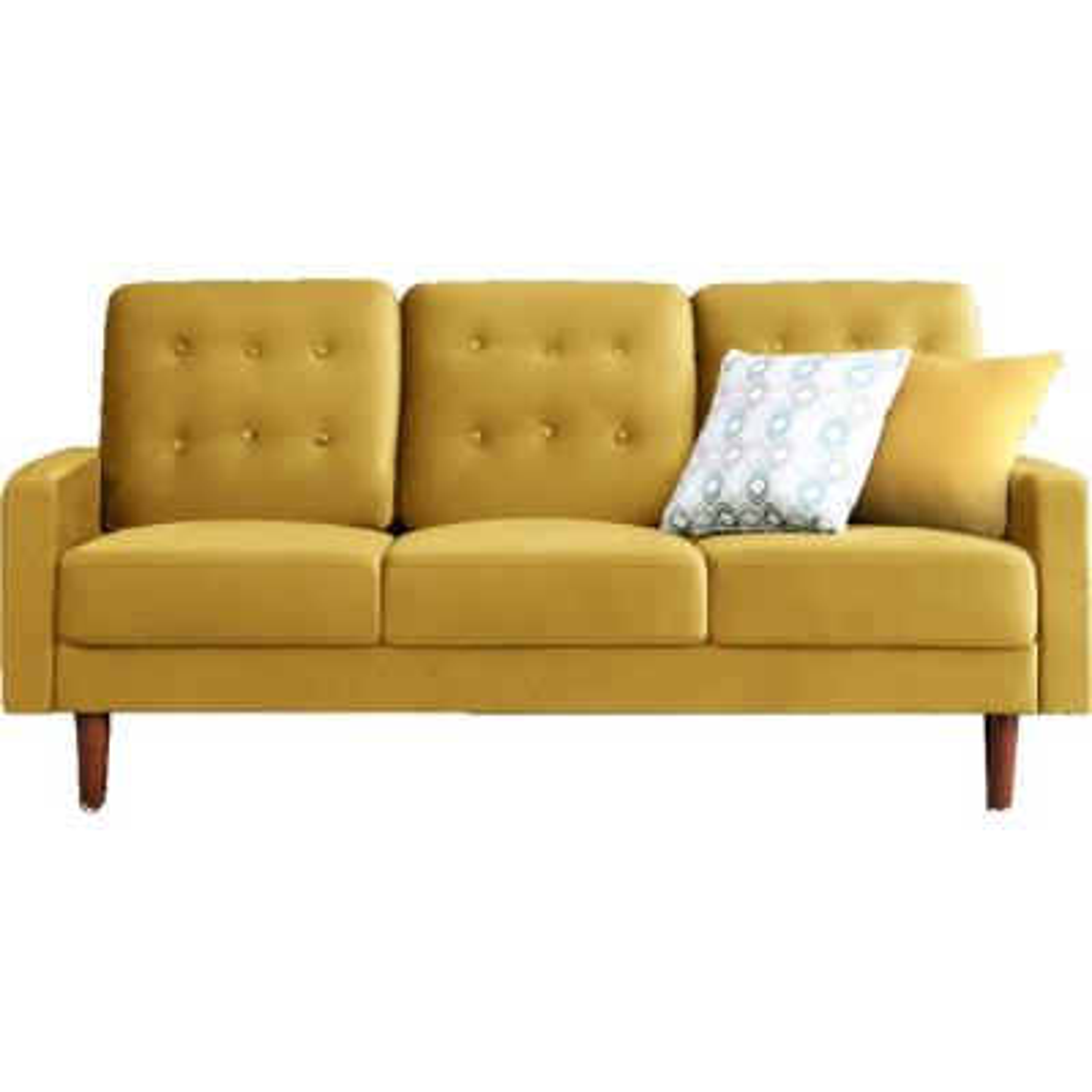 Kelleher Tufted Velvet Fabric Sofa Golden Yellow