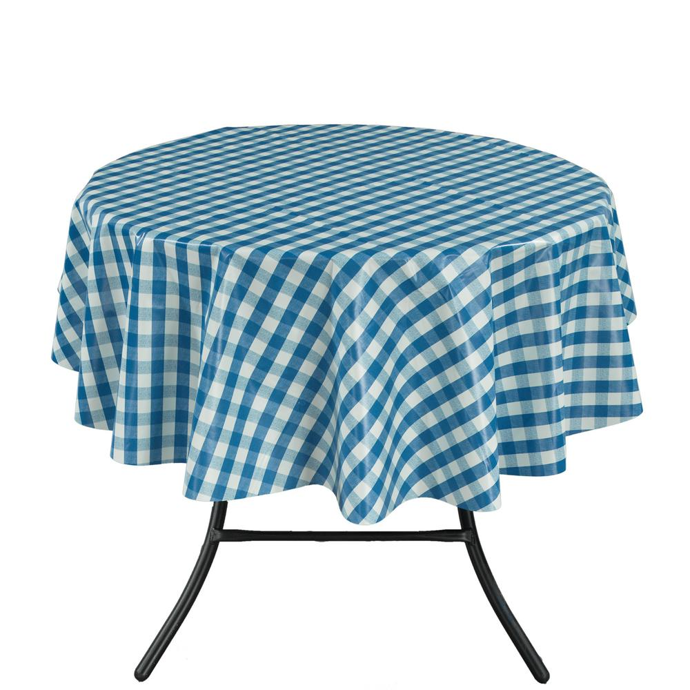 Round Indoor And Outdoor Blue Checkered Design Tablecloth For Dining Table