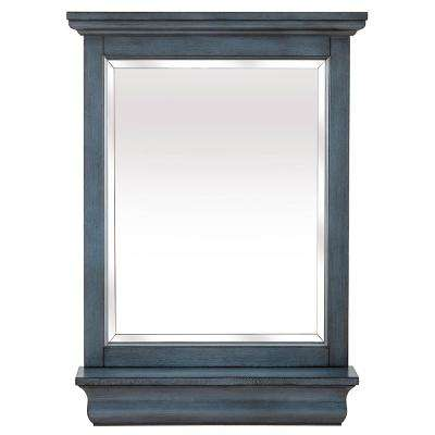 Cottage 24 in. x 32 in. Framed Wall Mirror in Harbor Blue