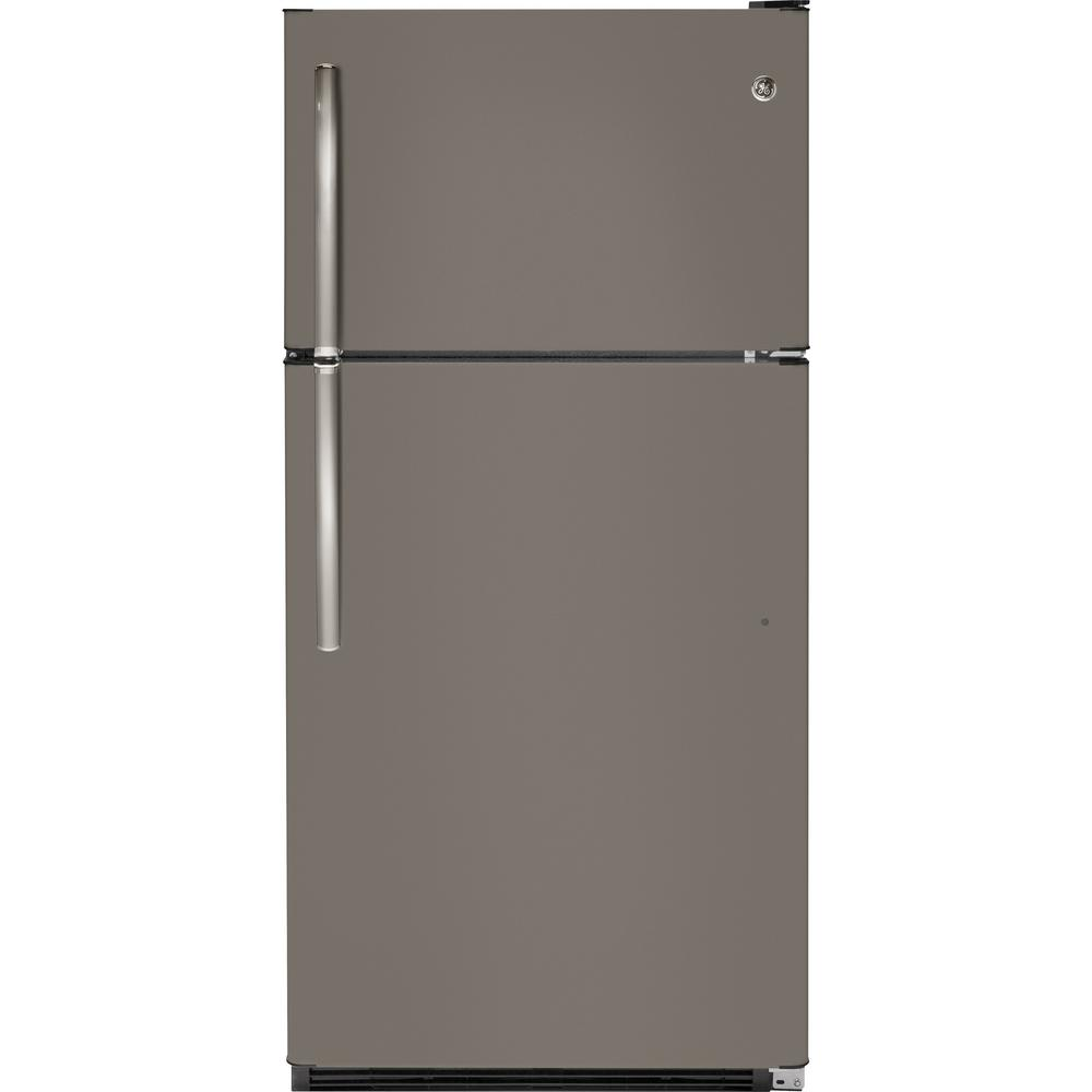 20.8 cu. ft. Top Freezer Refrigerator in Slate (Grey), Fingerprint Resistant GE appliances provide up-to-date technology and exceptional quality to simplify the way you live. With a timeless appearance, this family of appliances is ideal for your family. And, coming from one of the most trusted names in America, you know that this entire selection of appliances is as advanced as it is practical. Color: Slate.