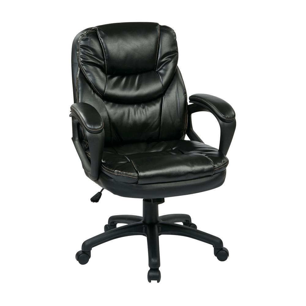 Black Faux Leather Office Chair Adjustable Height Nylon