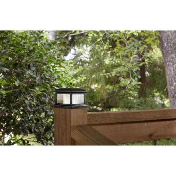 Hampton Bay 5 5 In X 5 5 In Outdoor Black Solar Integrated Led Plastic Post Cap Light With 3 5 In X 3 5 In Adaptor 2 Pack 2211 F40b The Home Depot