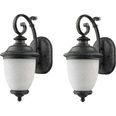 Belmont Collection 1-Light Slate Outdoor Wall Lantern Sconce 2-Pack