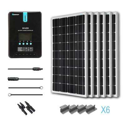 600-Watt 24-Volt Monocrystalline Off-Grid Solar Starter Kit for Solar System with MPPT Charge Controller