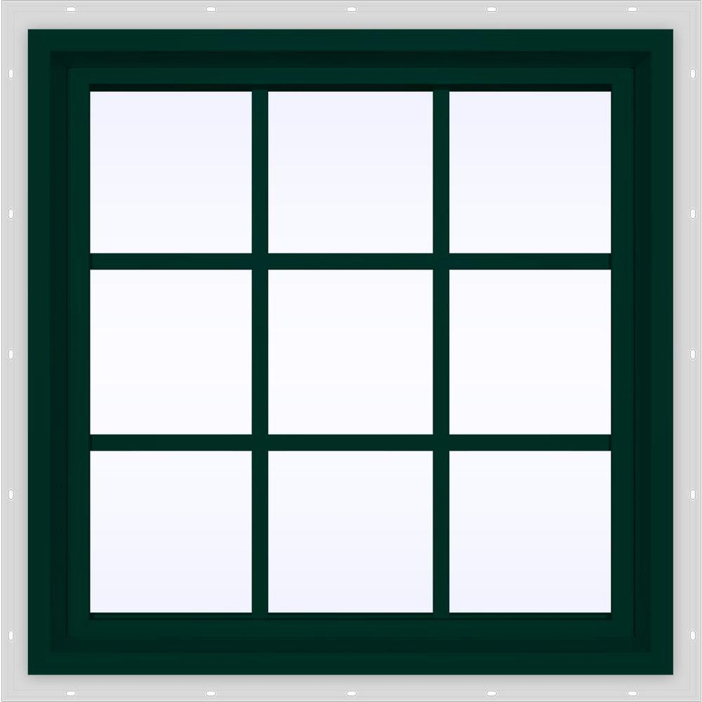 JELD-WEN 29.5 in. x 29.5 in. V-4500 Series Fixed Picture Vinyl Window with Grids in Green