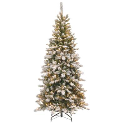 7.5 ft. Snowy Mountain Pine Slim Pine Artificial Christmas Tree with Clear Lights