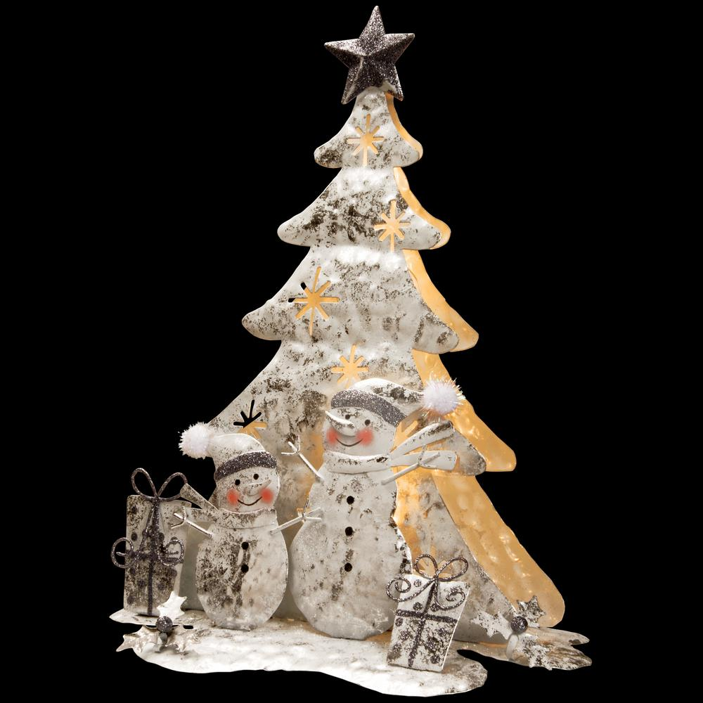 National Tree Company 16 in. Lighted Tree Snowman Scene This handcrafted decoration creates a holiday scene featuring smiling snowmen and holiday gifts in front of a glowing tree. This sculpted piece is constructed of metal and wire components painted in a distressed finish. The tree is lit from within with battery operated warm white long lasting LED lights.