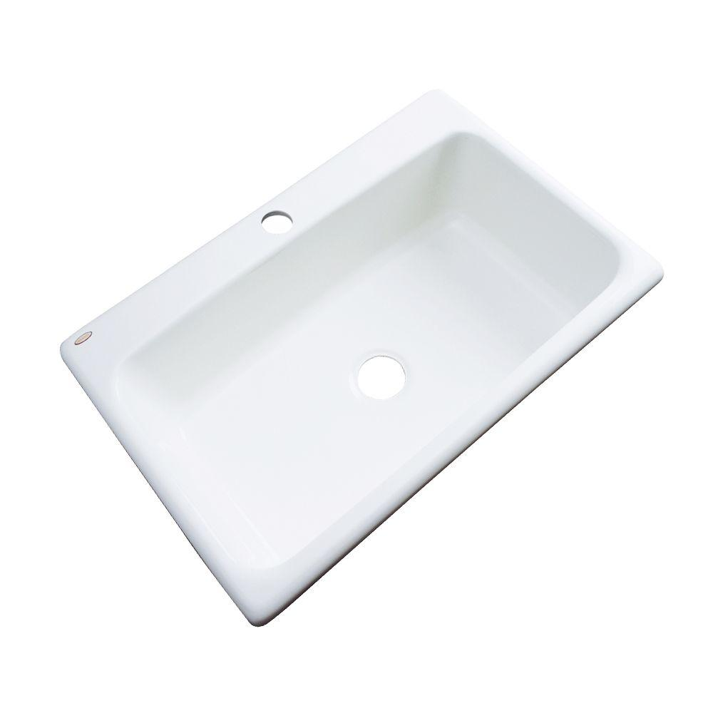Thermocast Manhattan Drop-In Acrylic 33 in. 1-Hole Single Basin Kitchen Sink in White