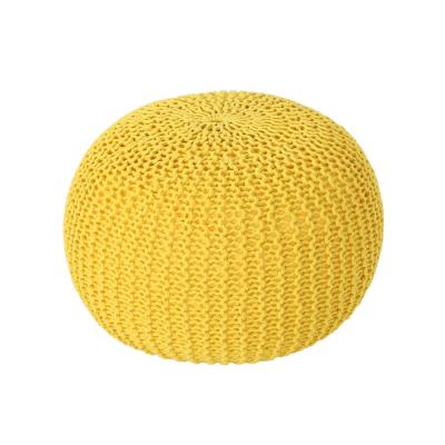Abena Yellow Knitted Cotton Pouf