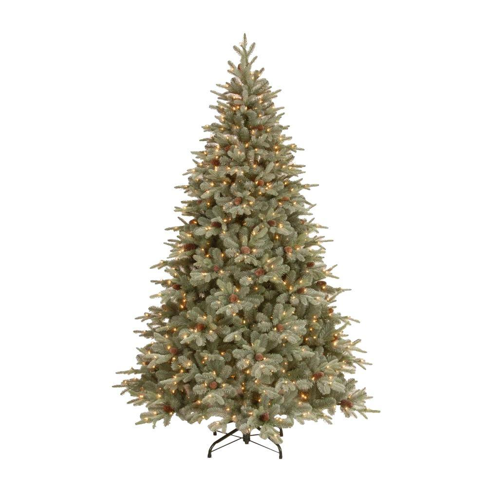 national tree company 75 ft feel real alaskan spruce artificial christmas tree with pinecones