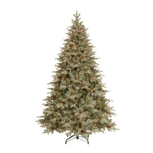 feel real alaskan spruce artificial christmas tree with pinecones and 750 clear lights pefa1 307e 75x the home depot