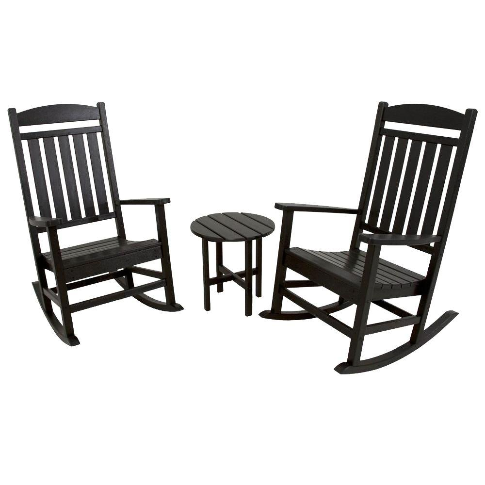 Ivy Terrace Classics Black 3-Piece Patio Rocker Set
