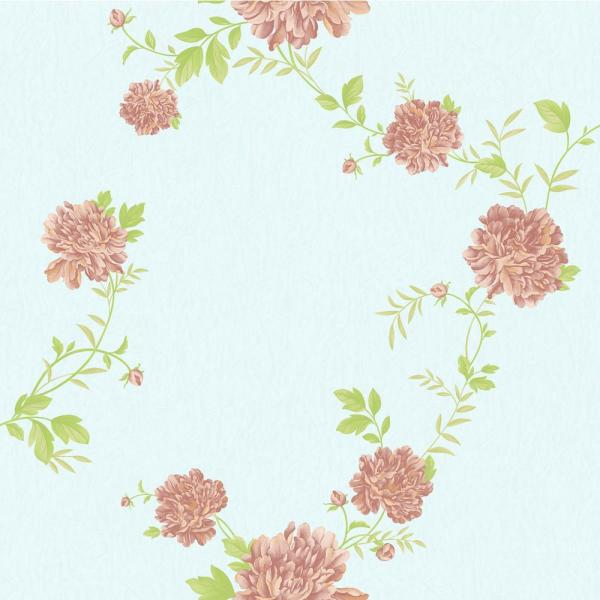 Falkirk Ophia Peonies Pink, Sky Blue Vinyl Peelable Roll (Covers 57 sq. ft.)