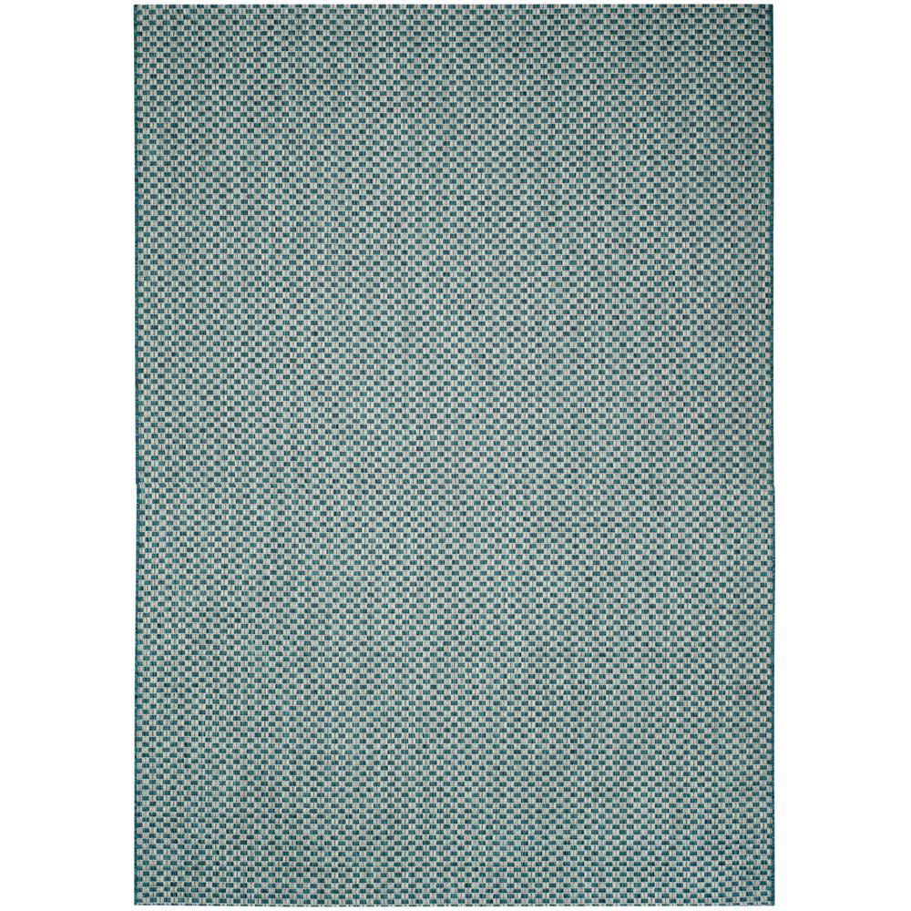 Courtyard Turquoise/Light Gray 4 ft. x 6 ft. Indoor/Outdoor Area Rug