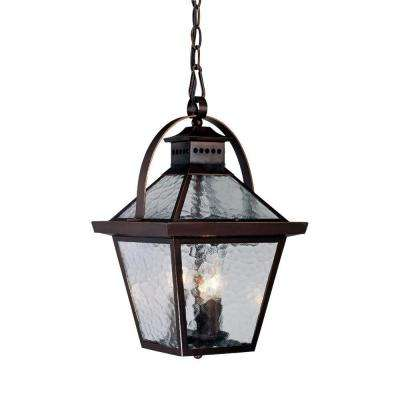 Bay Street Collection 3-Light Architectural Bronze Outdoor Hanging Lantern