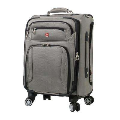 Zurich 20 in. Pewter Pilot Case Spinner Suitcase